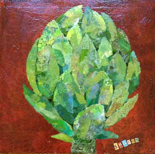Artichoke collage by Sharon Krulak