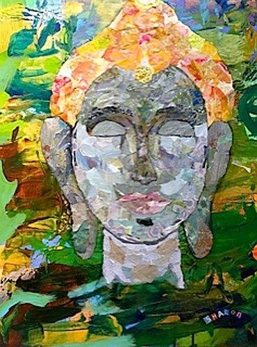 Enlightened, torn paper collage by artist Sharon Krulak