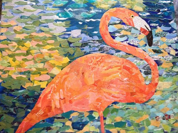 Flamingo torn paper collage, by Sharon Krulak
