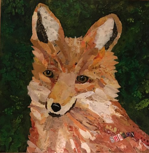 Foxy 2, torn paper collage by Sharon Krulak