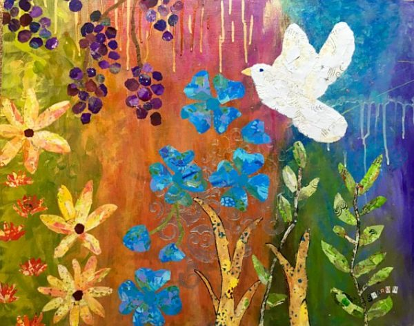 Garden of Peace torn paper collage by Sharon Krulak