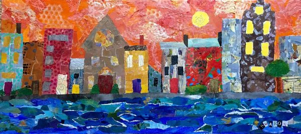 Harbor Moon, Torn Paper Collage, mixed media, by Sharon Krulak