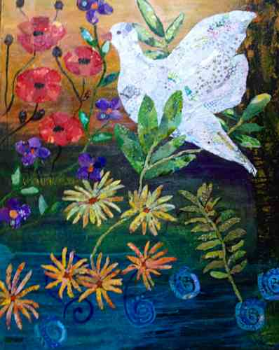 In Peace We Bloom, torn paper collage by Sharon Krulak