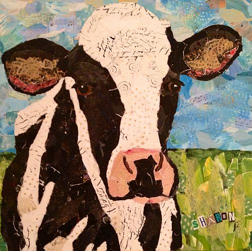 Molly Moo, Torn paper collage cow