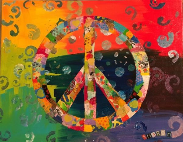 Peace, torn paper collage by Sharon Krulak