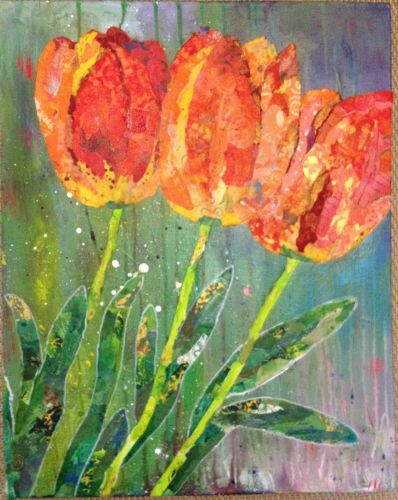 Petal Pushers, flowers collage by Sharon Krulak