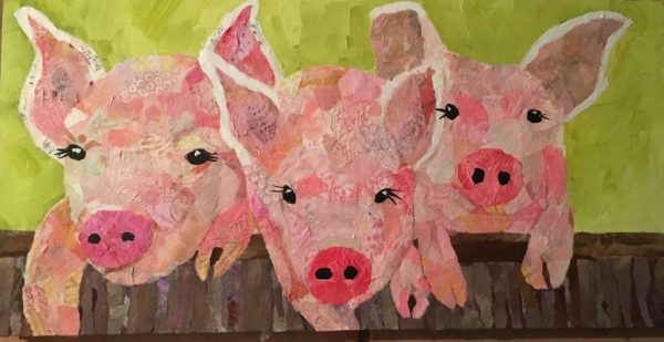 Piggy Giggles, torn paper collage of piglets