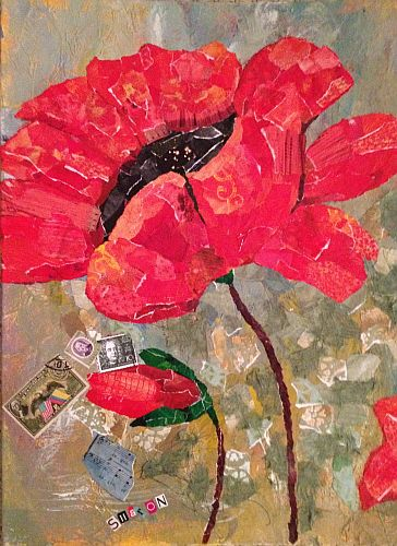 Poppy torn paper collage