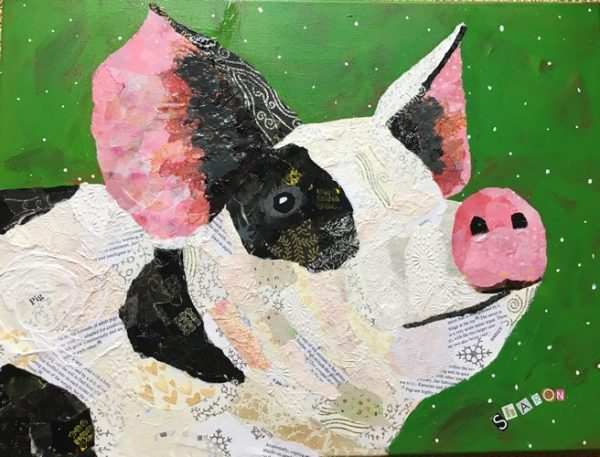 Pork Chop the pig, torn paper collage by Sharon Krulak