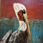Professor Bill, stork by Sharon Krulak, collage artist