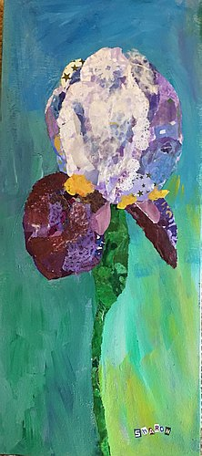 Iris torn paper collage
