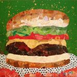 Cheeseburger on green background, torn paper collage