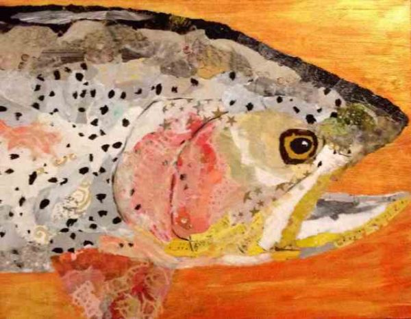 Trout torn paper collage