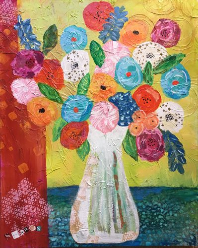 Textured Blooms collage by Sharon Krulak