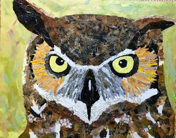 Wise Guy, Owl by Sharon Krulak, torn paper collage artist