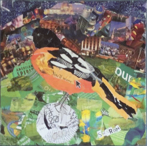 Play Ball, Oriole and baseball torn paper collage by Sharon Krulak