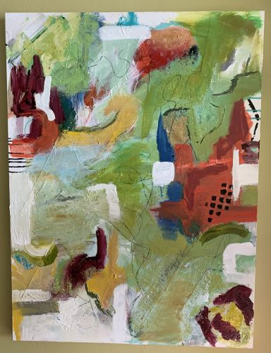 Red Barn abstract art, collage by Sharon Krulak