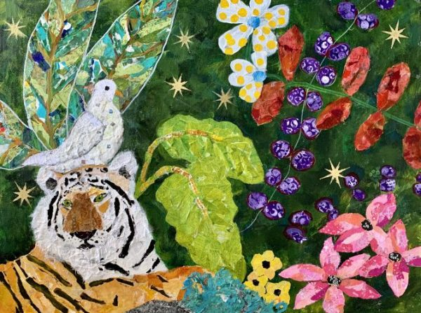 Peace and Harmony, Tiger, dove, flowers, torn paper collage