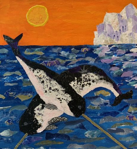 Narwhals Frolic, torn paper collage with mixed media