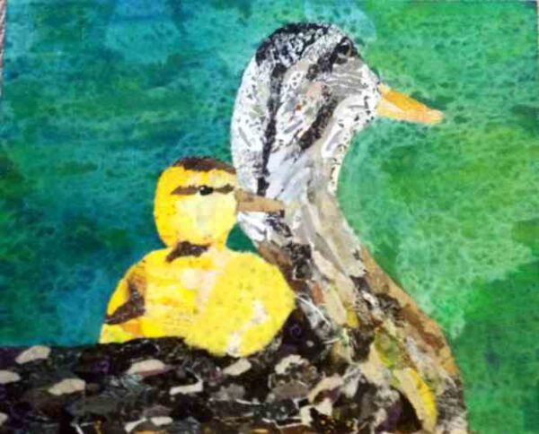 Free Ride, duck and duckling collage by Sharon Krulak